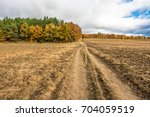 dirt road through farmland and... | Shutterstock . vector #704059519