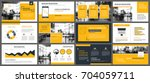 yellow presentation templates... | Shutterstock .eps vector #704059711