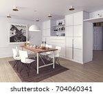 modern dining room interior. 3d ... | Shutterstock . vector #704060341