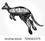 kangaroo double exposure tattoo ... | Shutterstock .eps vector #704065375