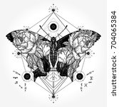 butterfly tattoo in geometrical ... | Shutterstock .eps vector #704065384