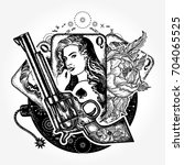 wild west tattoo and t shirt... | Shutterstock .eps vector #704065525