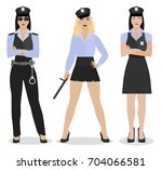 police women in sexy uniform.... | Shutterstock .eps vector #704066581
