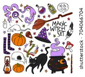 magic witch set. black cat ... | Shutterstock .eps vector #704066704