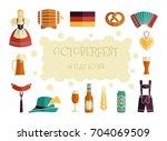oktoberfest icon set. german... | Shutterstock .eps vector #704069509