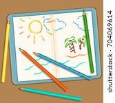 vector illustration  pencils... | Shutterstock .eps vector #704069614