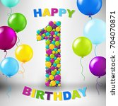 happy birthday card gradient... | Shutterstock .eps vector #704070871