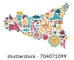stylized map of sicily with... | Shutterstock .eps vector #704071099