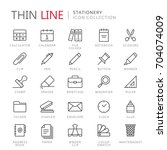 collection of stationery thin... | Shutterstock .eps vector #704074009