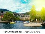 view from lake thun  switzerland | Shutterstock . vector #704084791