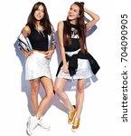 Fashion Portrait Of Two Smilin...