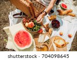 picnic set with fruit  cheese ... | Shutterstock . vector #704098645