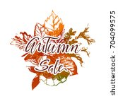 autumn sale lettering with...   Shutterstock .eps vector #704099575