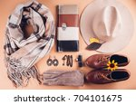 autumn female outfit. set of... | Shutterstock . vector #704101675