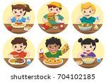 group of happy kids eating... | Shutterstock .eps vector #704102185