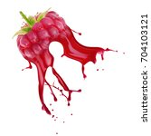 raspberry with juice splash... | Shutterstock . vector #704103121