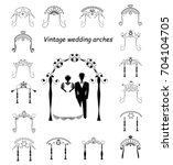 set of vintage graphic chuppah. ... | Shutterstock .eps vector #704104705