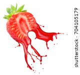 strawberry with juice splash... | Shutterstock . vector #704105179