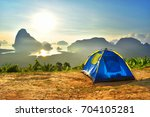 camp tent stay doi mountain sky ... | Shutterstock . vector #704105281