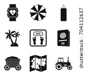carefree life icons set. simple ... | Shutterstock .eps vector #704112637