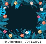 frame with tropical jungle... | Shutterstock .eps vector #704113921
