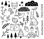 forest set. animals  bear  fox  ... | Shutterstock .eps vector #704117659