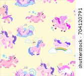cute unicorn seamless pattern ... | Shutterstock .eps vector #704120791