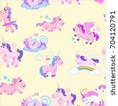 cute unicorn seamless pattern ... | Shutterstock .eps vector #704120791