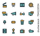vector flat movie icons set on... | Shutterstock .eps vector #704123554