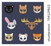 collection of animal masks for... | Shutterstock .eps vector #704129815
