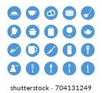 kitchen utensil circular icons... | Shutterstock .eps vector #704131249