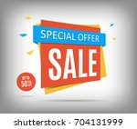 50  off sale banner on a gray... | Shutterstock .eps vector #704131999