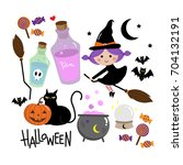 halloween  cute witch set | Shutterstock .eps vector #704132191