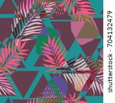summer exotic floral tropical... | Shutterstock .eps vector #704132479
