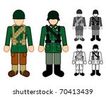 American and German WWII Soldier Character Figures - stock vector