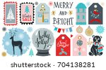 holiday merry christmas icons ... | Shutterstock . vector #704138281