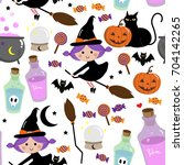 witch pattern  halloween | Shutterstock .eps vector #704142265
