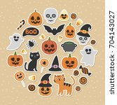 cute vector set with halloween... | Shutterstock .eps vector #704143027