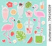 palm leaves  pineapple ... | Shutterstock .eps vector #704143039