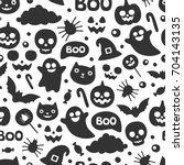 vector cute seamless halloween...   Shutterstock .eps vector #704143135