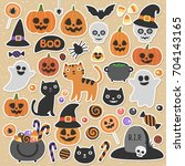 cute vector set with halloween... | Shutterstock .eps vector #704143165