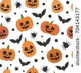 halloween pumpkins  spiders and ... | Shutterstock .eps vector #704143177