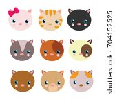 variation of cute kitten head... | Shutterstock .eps vector #704152525