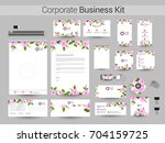pink flowers decorated... | Shutterstock .eps vector #704159725