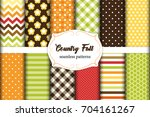 set of 12 cute seamless country ... | Shutterstock .eps vector #704161267