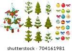 christmas tree  christmas balls ... | Shutterstock .eps vector #704161981