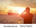 Silhouette Man Use Binocular...