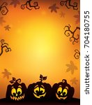 pumpkin silhouettes theme image ...   Shutterstock .eps vector #704180755