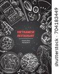 vietnamese food top view ... | Shutterstock .eps vector #704183449