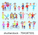 smiling people of different age ... | Shutterstock .eps vector #704187331